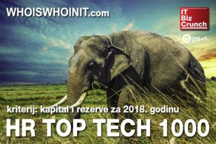 Najboljih 1000 hrvatskih visoko-tehnoloških tvrtki po kriteriju kapitala i rezervi za 2018. godinu