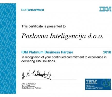 Poslovna inteligencija postala Platinum IBM Business Partner
